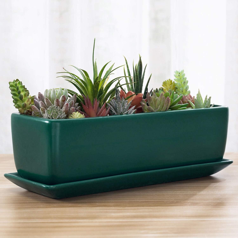 MyGift 14-inch Turquoise Rectangular Modern Ceramic Succulent Window Box Planter Pot with Saucer