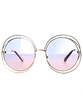bd84625fc795 Image Unavailable. Image not available for. Color  Chloe CE114SD 706 Gold  Grad Azure Carlina Round Sunglasses Lens Category 1 Si
