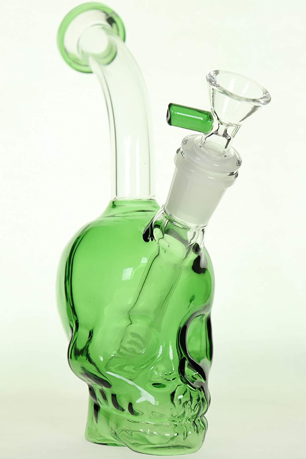 SmokeWeapon Green Skull Head Glass Art Vase Downstem Perc Green 14 MM Joint 8 Inches Height