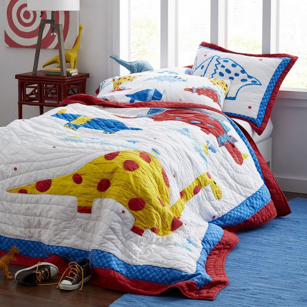 Cusphorn Pure Cotton Dinosaur Prints Reversible Quilt Sets 3-Pcs Boys Bedding Full/Queen Size