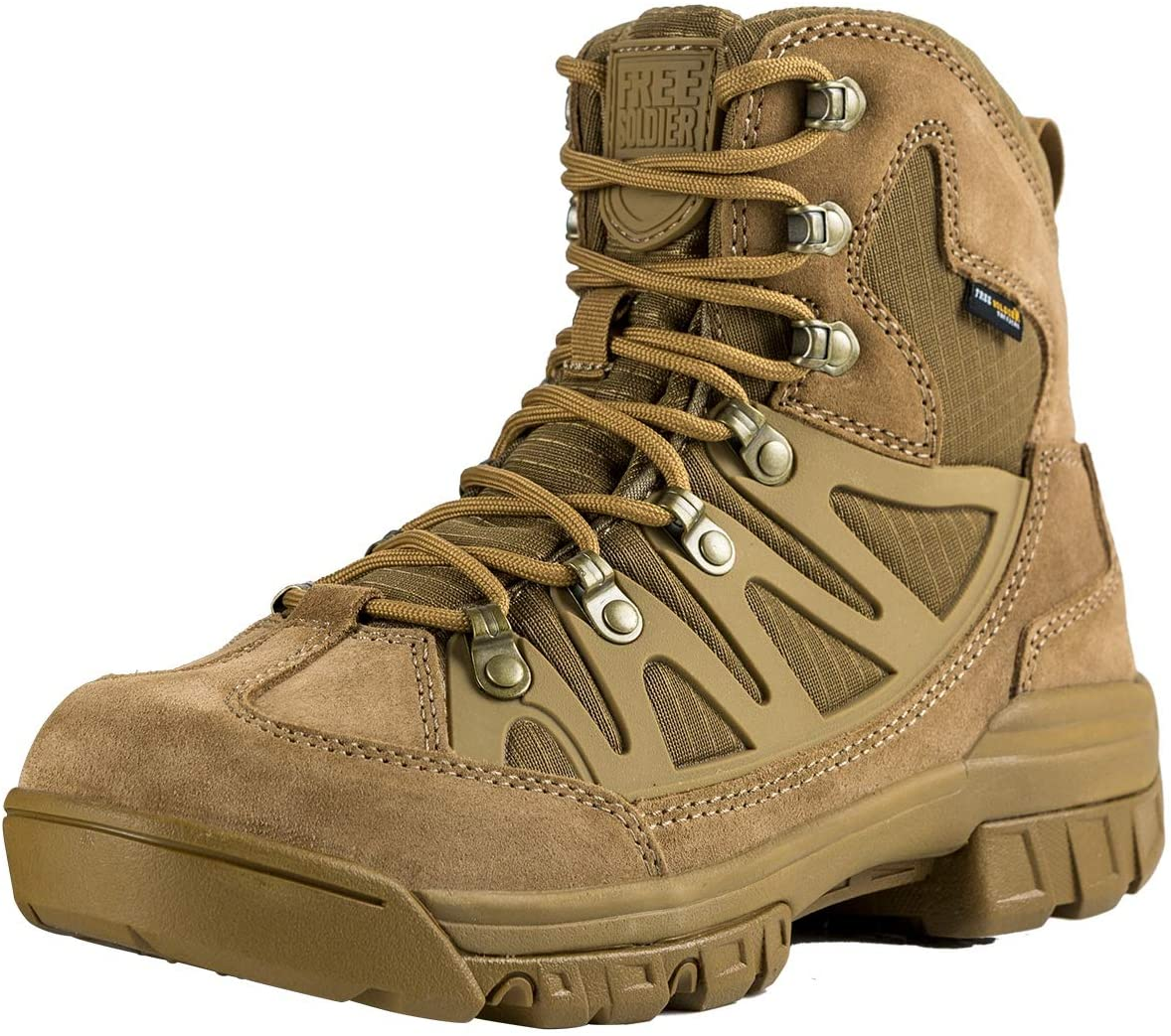 Image of a coyote brown tactical boot, metal lace hoops with crossed laces on a white background.