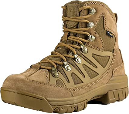 FREE SOLDIER Outdoor Mens Tactical Military Combat Ankle Boots Water Resistant Lightweight Mid Hiking Boots Coyote Brown, 10 US