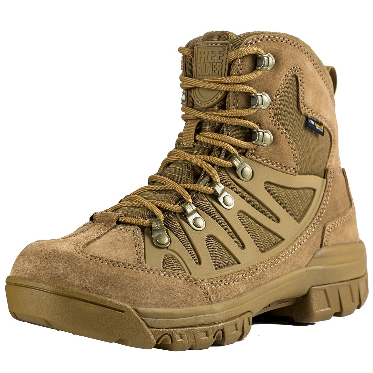 FREE SOLDIER Outdoor Men's Tactical Military Combat Ankle Boots Water Resistant Ligtweight Mid Hiking Boots (Coyote Brown, 9 US) by FREE SOLDIER