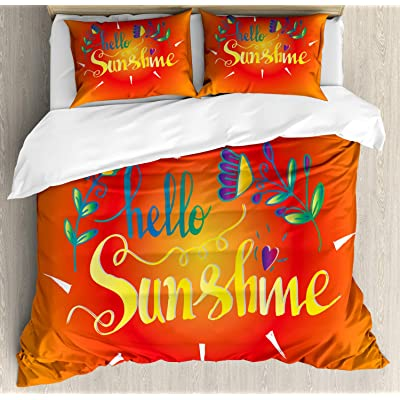Ambesonne Hello Sunshine Duvet Cover Set, Colorful Composition with Hello Sunshine Words and Blooming Spring Flowers, Decorative 3 Piece Bedding Set with 2 Pillow Shams, Queen Size, Multicolor: Home & Kitchen