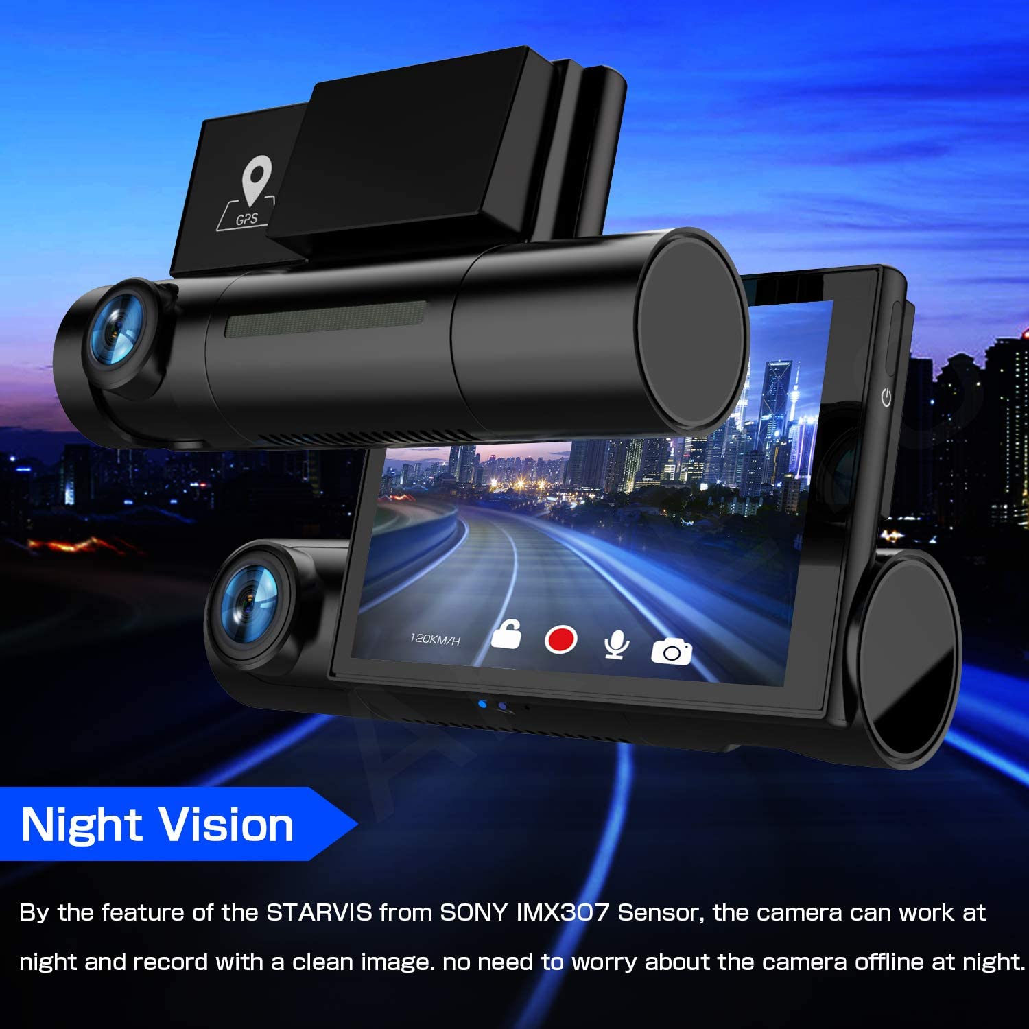 WiFi Loop Recording Night Vision AKEEYO D7 Dash Cam Front and Rear 3 Inch OLED Screen 1080P FHD Dual Lens Car Dash Camera with WDR G-Sensor GPS