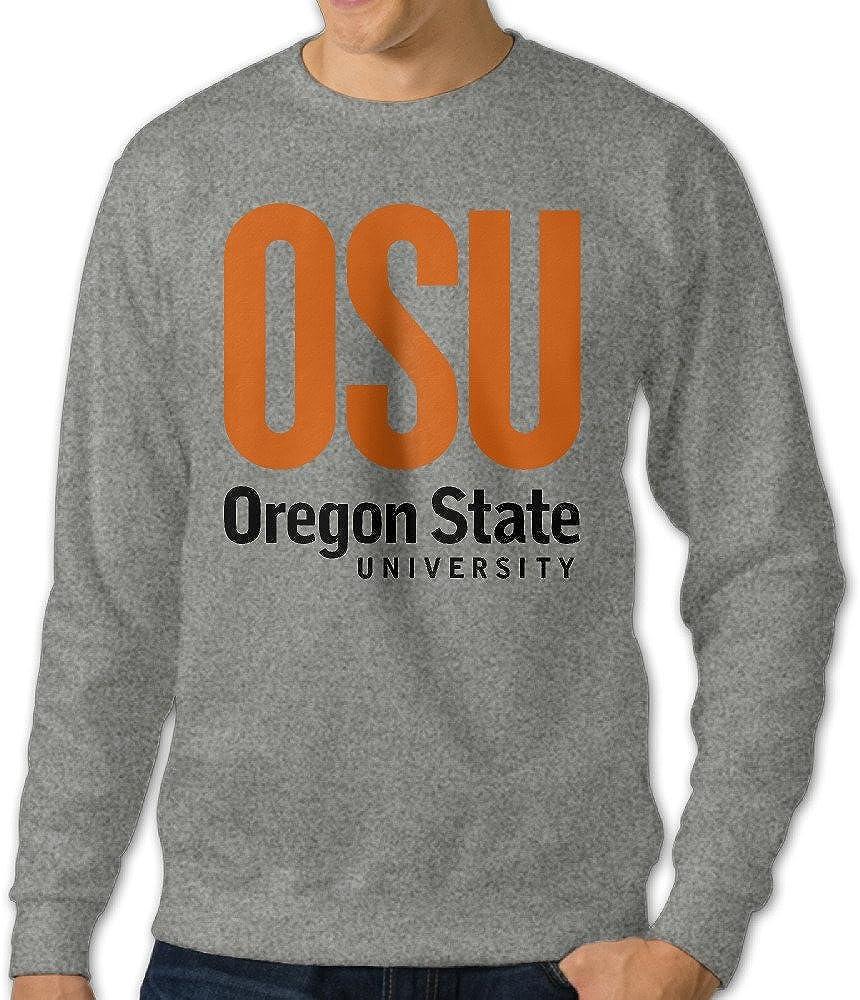 AuSin Men's Crew Neck Hooded Sweatshirt Oregon State University Ash
