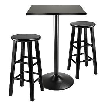 AmazoncomWinsome Obsidian 3Piece Pub Table SetTable