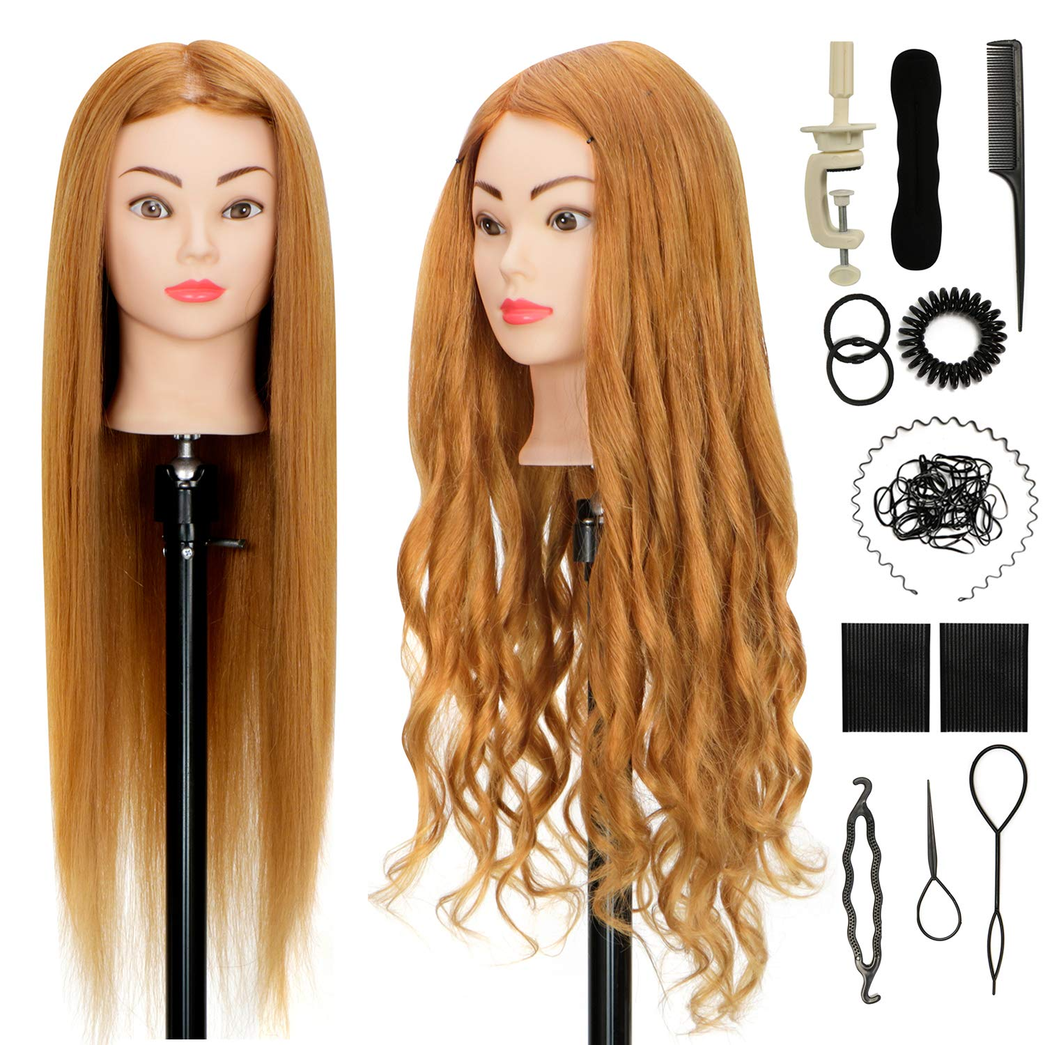 Cosmotologist Doll Head 26 Inches Cosmetology Mannequin Head With 50 Real Hair Model Head For Braiding Training Head Orguja Manikin Head Practice Doll With Clamp And Braid Set Beauty Amazon Com