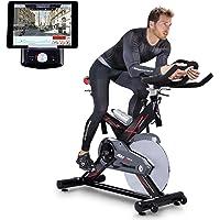 Sportstech Profi Indoor Cycle SX400 mit Smartphone App, 22KG Schwungrad, Armauflage, Pulsgurt kompatibel-Speedbike mit Riemenantrieb-Fahrrad Ergometer bis 150Kg