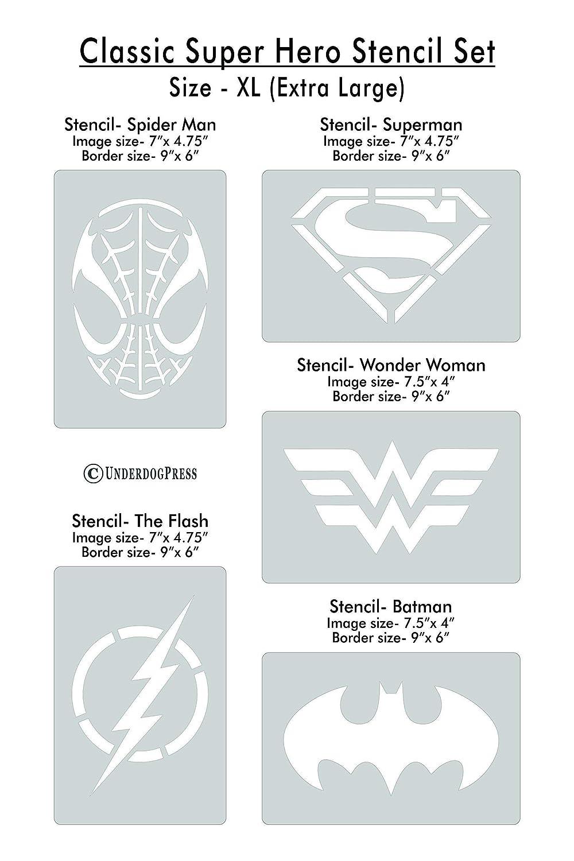 XL Stencils- Classic Super Hero Set of 5