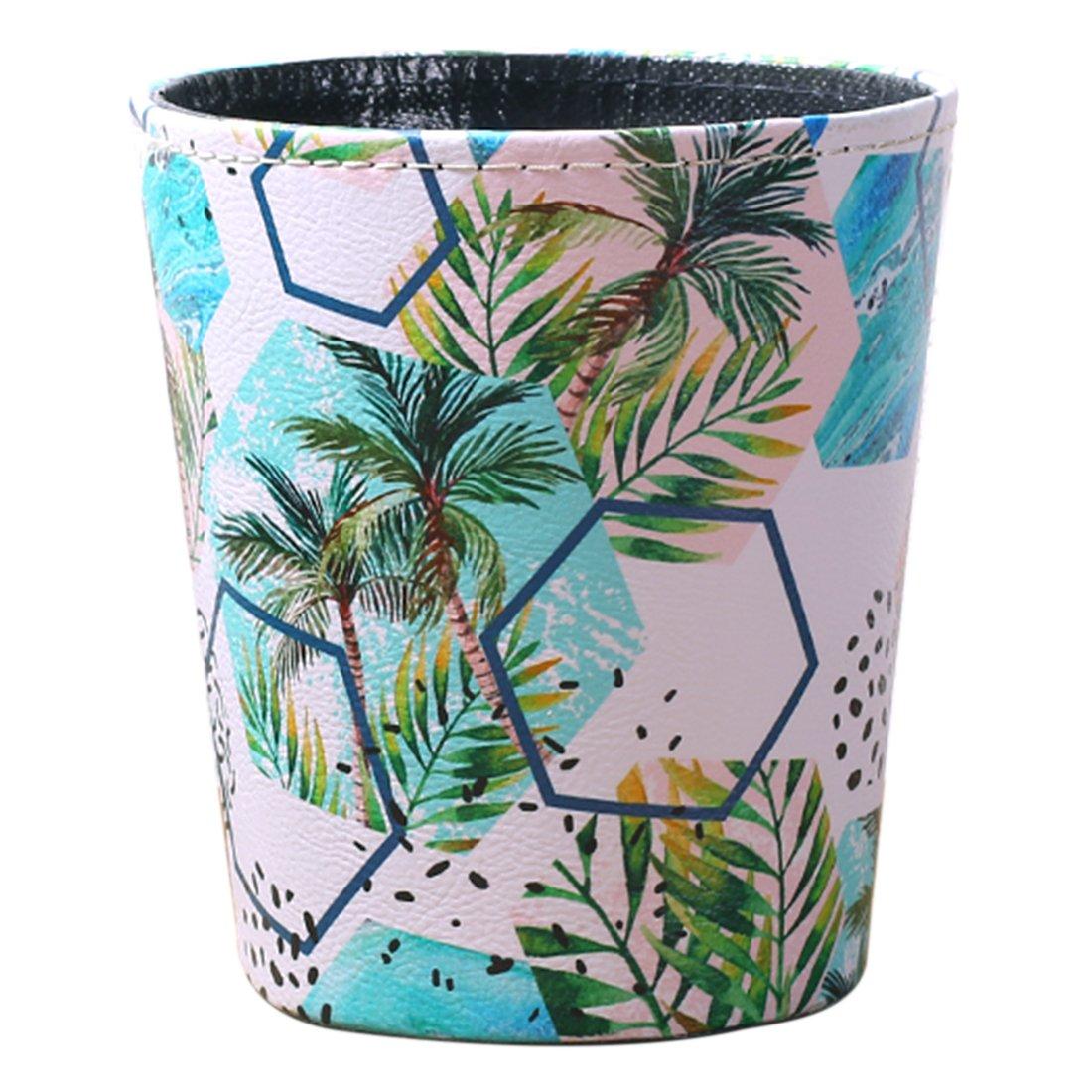 BOROK 10L Waterproof Vintage Office Rubbish Bin Waste Paper Bin Children Hawaiian, 25x 27cm, PU, Typ 2, 25 x 27cm