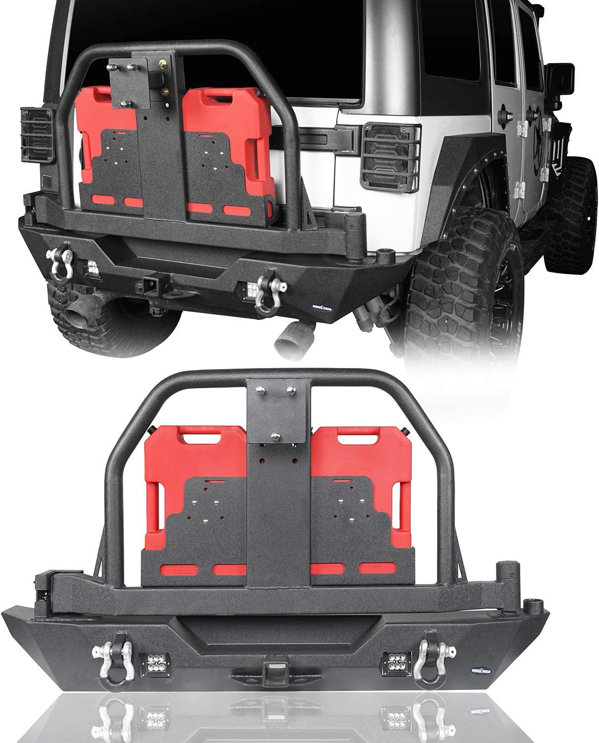 Amazon Com Hooke Road Rear Bumper Spare Tire Carrier W Oil Drum Holder Receiver Hitches Compatible With Jeep Wrangler Jk Unlimited 2007 2018 Automotive