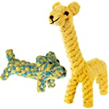 SunGrow Cotton Rope Knot Puppy Toys, Durable & Handwoven, Dynamic Duo of Gaby The Giraffe & Daisy The Dog, Soft, Non-Toxic Ch