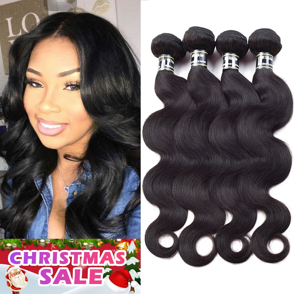 Star Show Hair Body Wave Bundles Malaysian Body Wave Human Hair Extensions Malaysian Virgin Hair Weave Soft and Thick Full Head 4 Bundles/set (18 20 22 24 inch) Natural Color