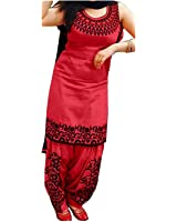 Salwar Suit Sets(Suppar Sleave Embroidered Women's Cotton Silk Dress Material Unstitched Patiala Suit)
