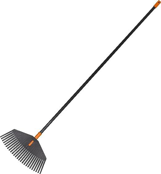 Fiskars Rastrillo para hojas, 25 dientes, Longitud: 170 cm, Ancho: 41,5 cm, Puntas de plástico/Mango de aluminio, Negro/Naranja, Solid M, 1003464: Amazon.es: Jardín