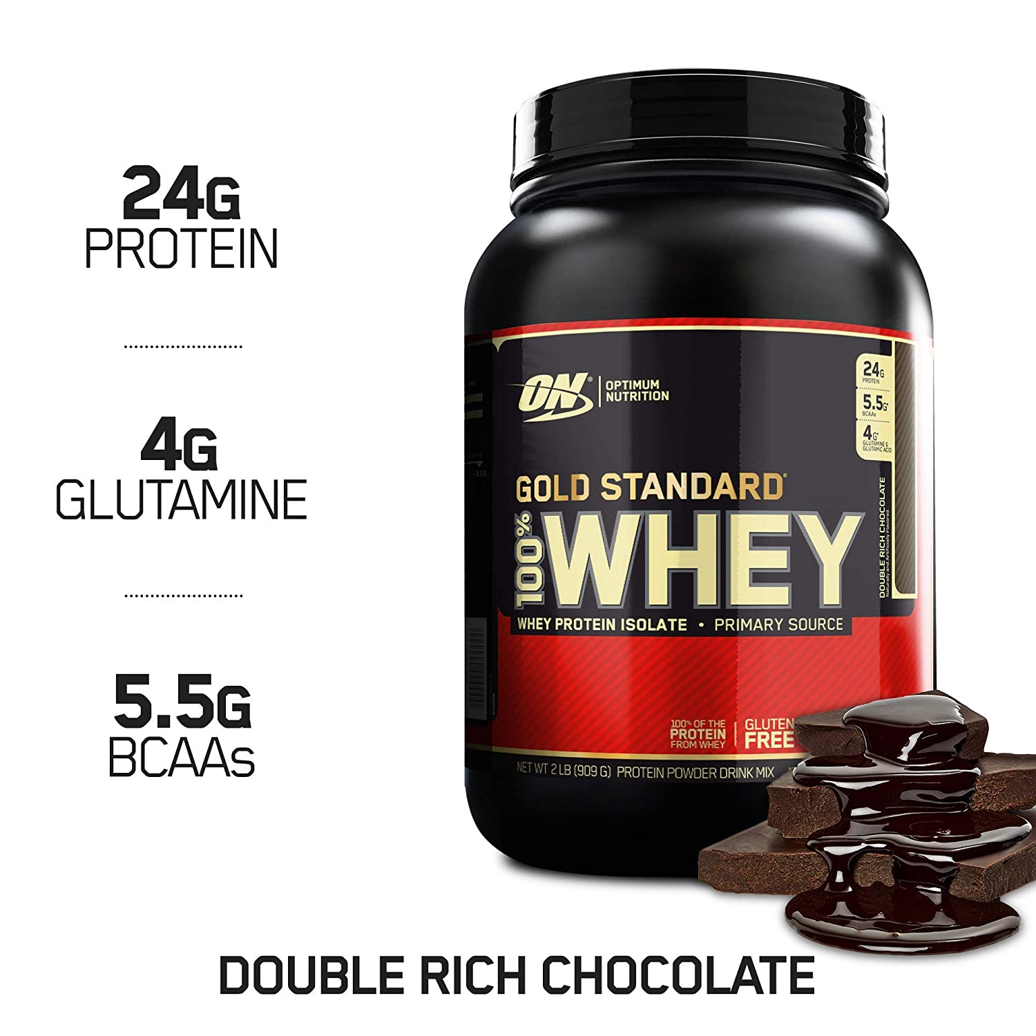 OPTIMUM NUTRITION GOLD STANDARD 100 Whey Protein Powder, Double Rich Chocolate 2 Pound