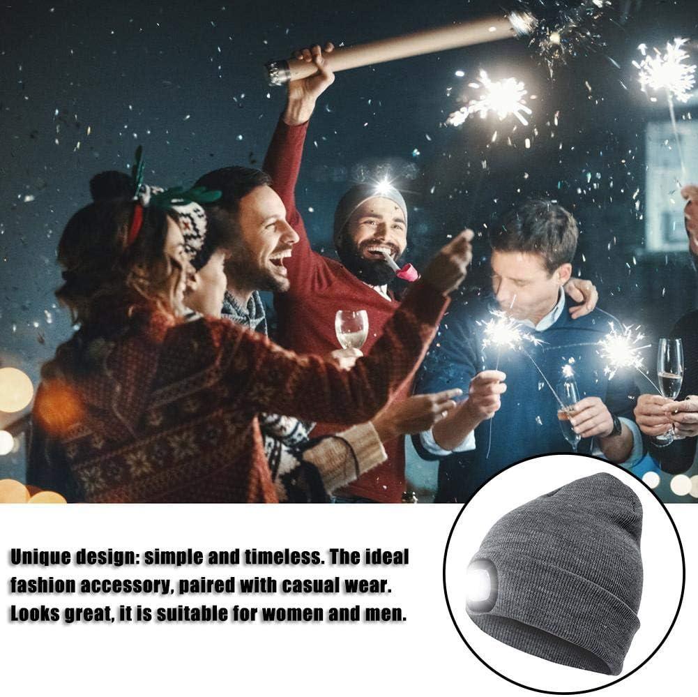 Ganmaov LED Beanie M/ütze mit Licht Hands Free Headlamp Cap f/ür die Jagd Camping Grillen Laufen Strickm/ütze mit Licht mit Knopfbatterie