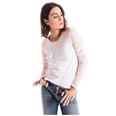 2335e8403bcde Z SUPPLY Women's The Varsity Stripes Long Sleeve Tee (Large, White/Pink  Dust) at Amazon Women's Clothing store: