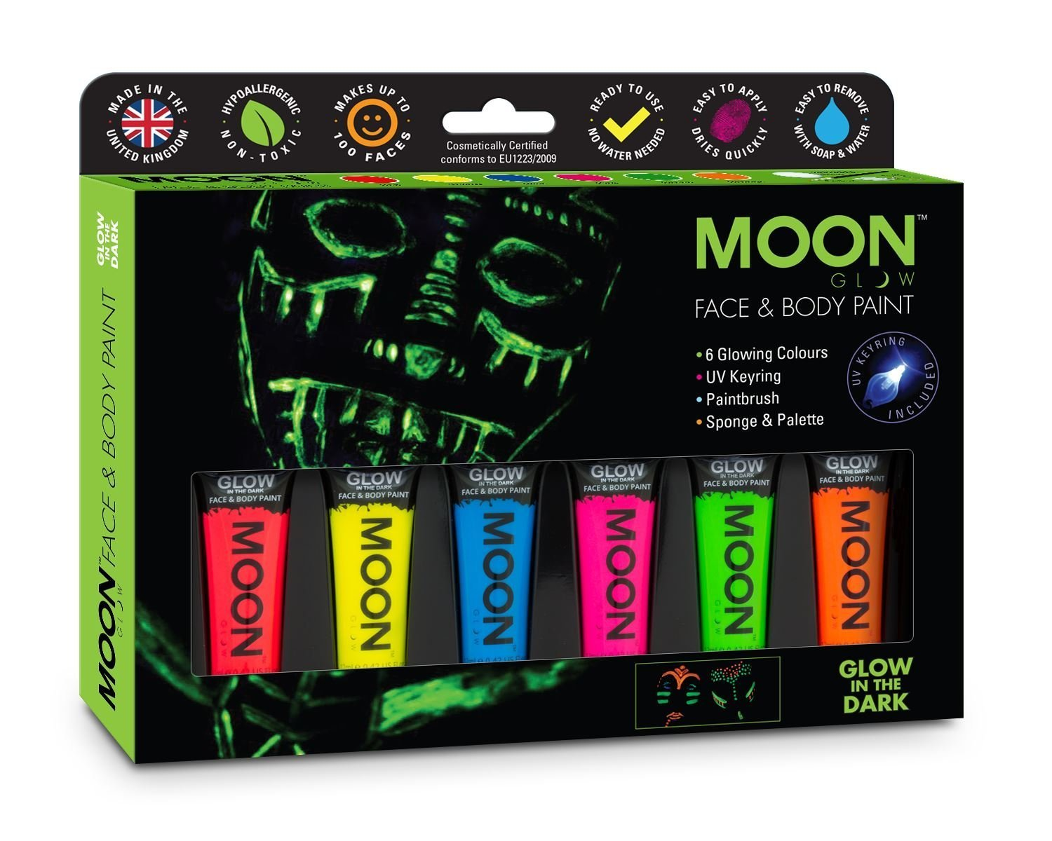 Moon Glow - Glow in the Dark Face and Body Paint Gift Set - includes 6 tubes, UV Keyring, Paintbrush and Sponge