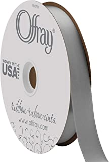 "product image for Berwick Offray 7/8"" Wide Double Face Satin Ribbon, Pewter Grey, 100 Yards"