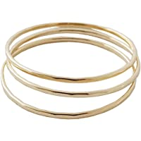 HONEYCAT Super Skinny Hammered or Smooth Stacking Rings Trio Set in Gold, Rose Gold, or Silver | Minimalist, Delicate…