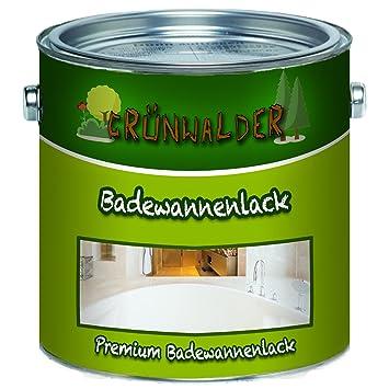 Grünwalder Badewannenlack Badezimmerfarbe Badewannenbeschichtung 2K  Speziallack SET Decklack + Grundierung Weiss Grau Beige Schwarz (2
