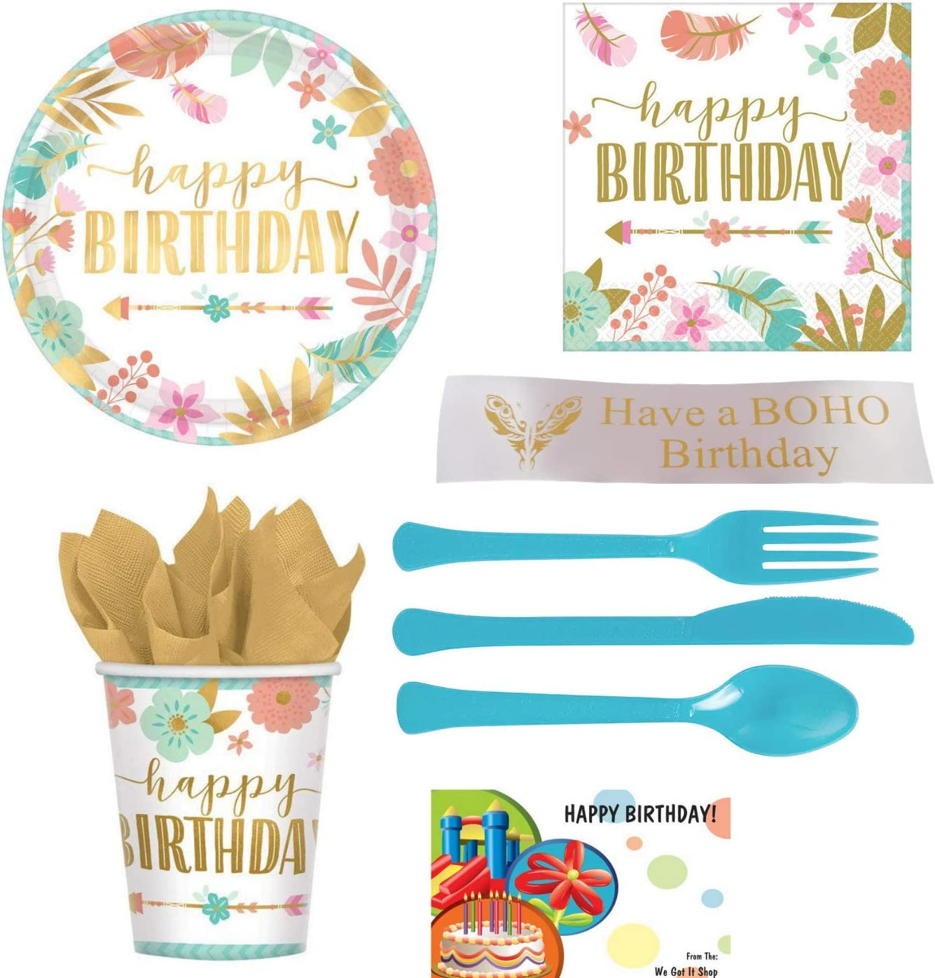 BOHO Birthday, Girl Birthday Party Supplies Kit With Plates, Napkins, Cups, Plastic Ware and Bonus Printed Ribbon