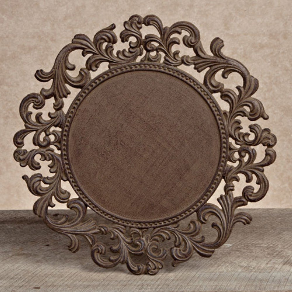 Acanthus Ornate Bronze Finish Charger Plates Set of 4 - ChristmasTablescapeDecor.com