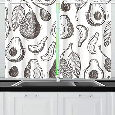 Jtmoving Avocados Vector Seamless Pattern Hass Avocado Kitchen Curtains Window Curtain Tiers For Café Bath Laundry Living Room Bedroom 26 X 39 Inch 2 Pieces Home Kitchen