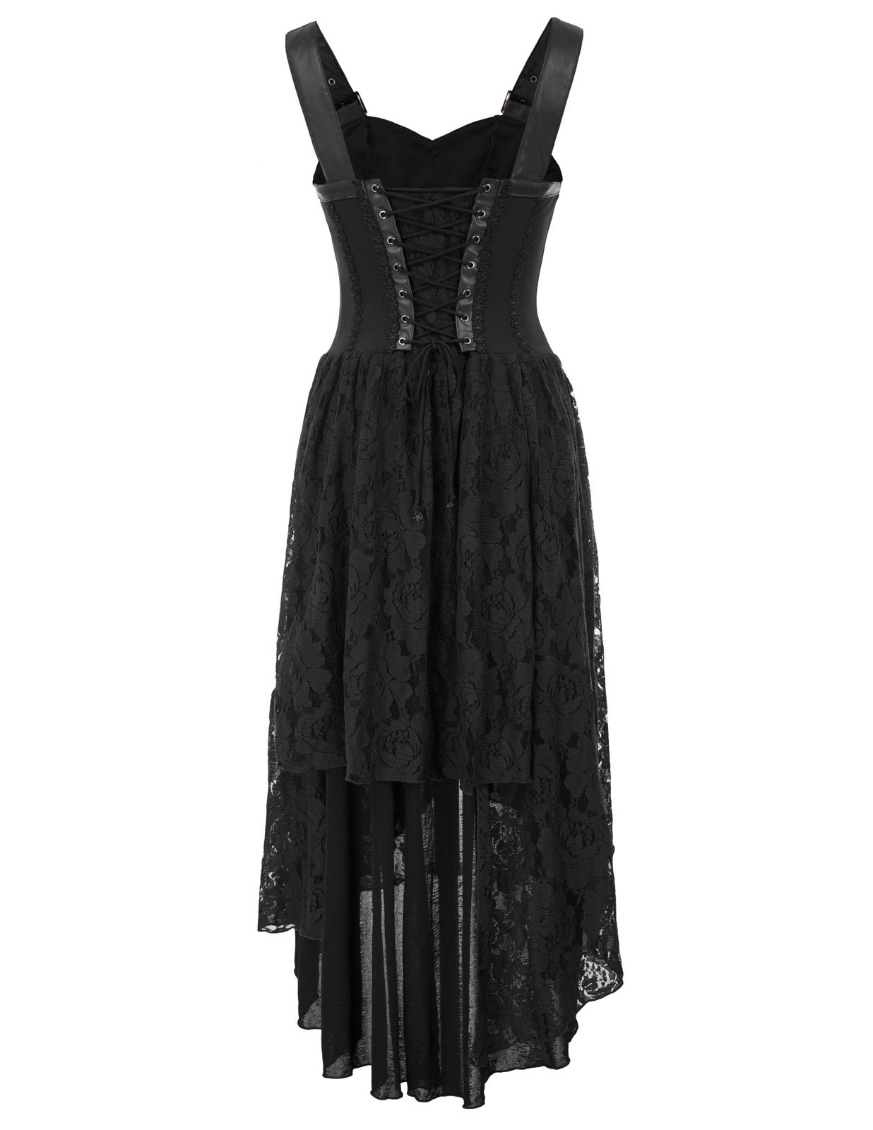 Women Steampunk Gothic Victorian Long Dress Sleeveless Irregular Lace Dress 4