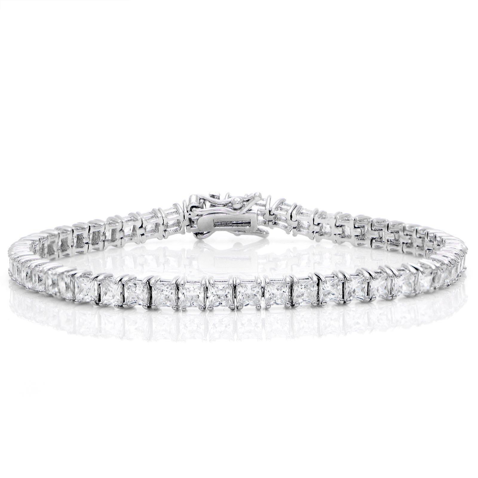 GemStar USA Princess-cut Sparkling 3x3mm Cubic Zirconia Classic Tennis Bracelet