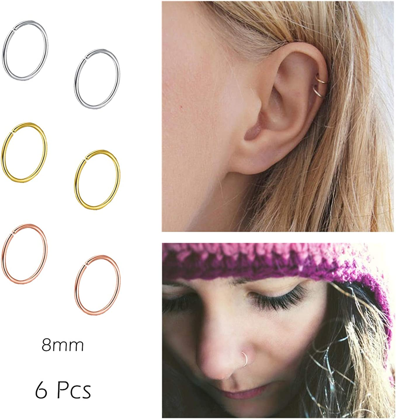 Amazon Com Nzdlm Nose Rings Hoop Fakes Nose Ring 20g 316l