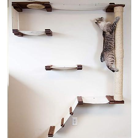 CatastrophiCreations Estantería para Gatos con Diseño de Escalada de Gato, Hecha a Mano, para Montar en la Pared, Castaño Inglés, Talla única: Amazon.es: ...