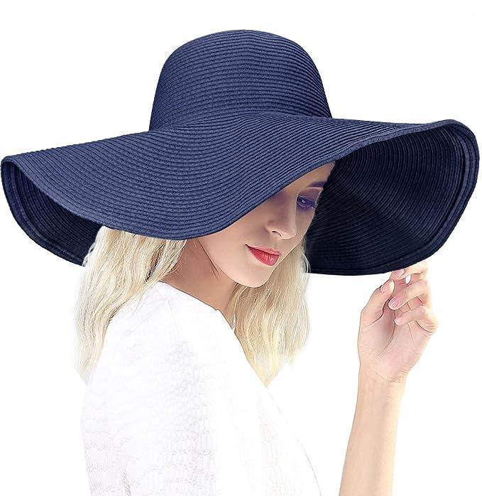 Dafunna Sombrero de Paja para Mujer de ala Ancha Pamelas Playa Plegable  Sombrero de Sol Color cf60f82c5d9a