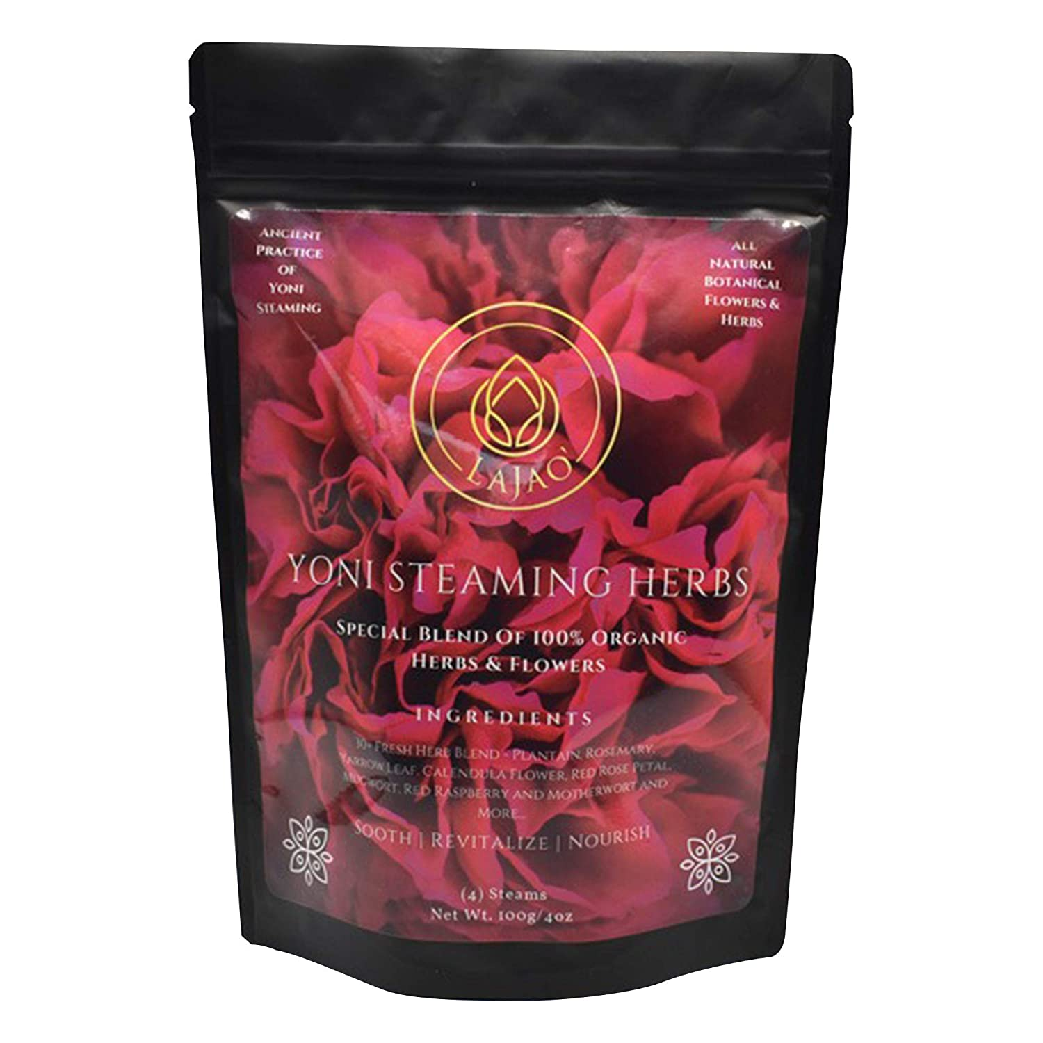 LaJao Yoni Steaming Herbs for V Steam, Herbal Steaming for Women, 4 Ounce (4-8 Steams) Vaginal Steam Home Spa, Natural 100% Organic Herbal Blend for Menstrual Cycle Menopause Fertility, V Steam Detox