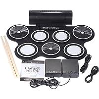 Tambor Electronico Enrolle Drum Bateria Musical Drum Kit Batería Electrónica Altavoces Incorporados Cable de Audio Modos Multisono Para Adultos y Niños