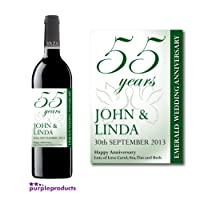 Personalised 55th Emerald Wedding Anniversary Wine Bottle Label Gift for Women and Men