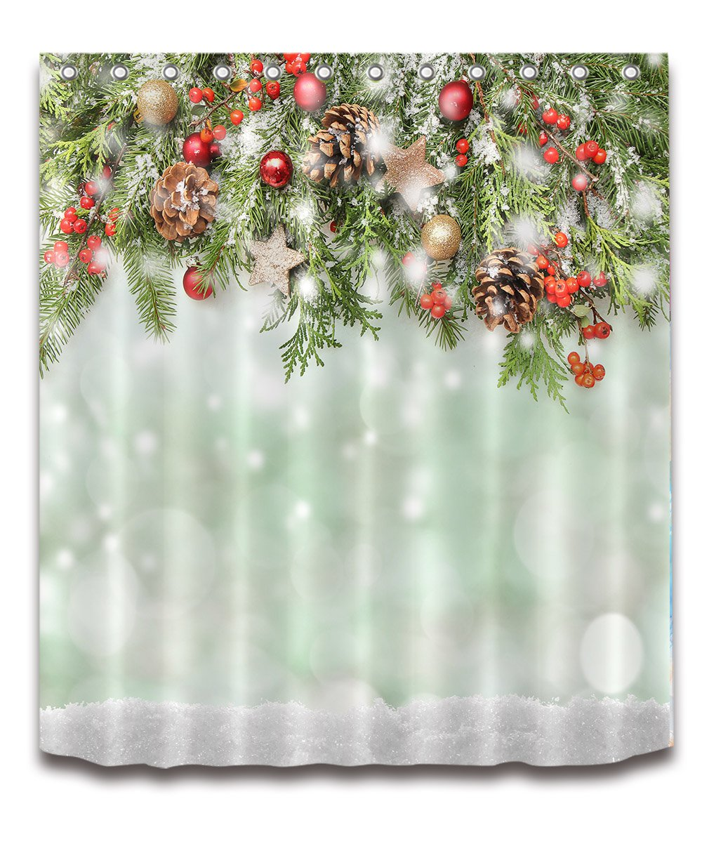 Amazoncom Merry Christmas Decoration Shower Curtain Polyester