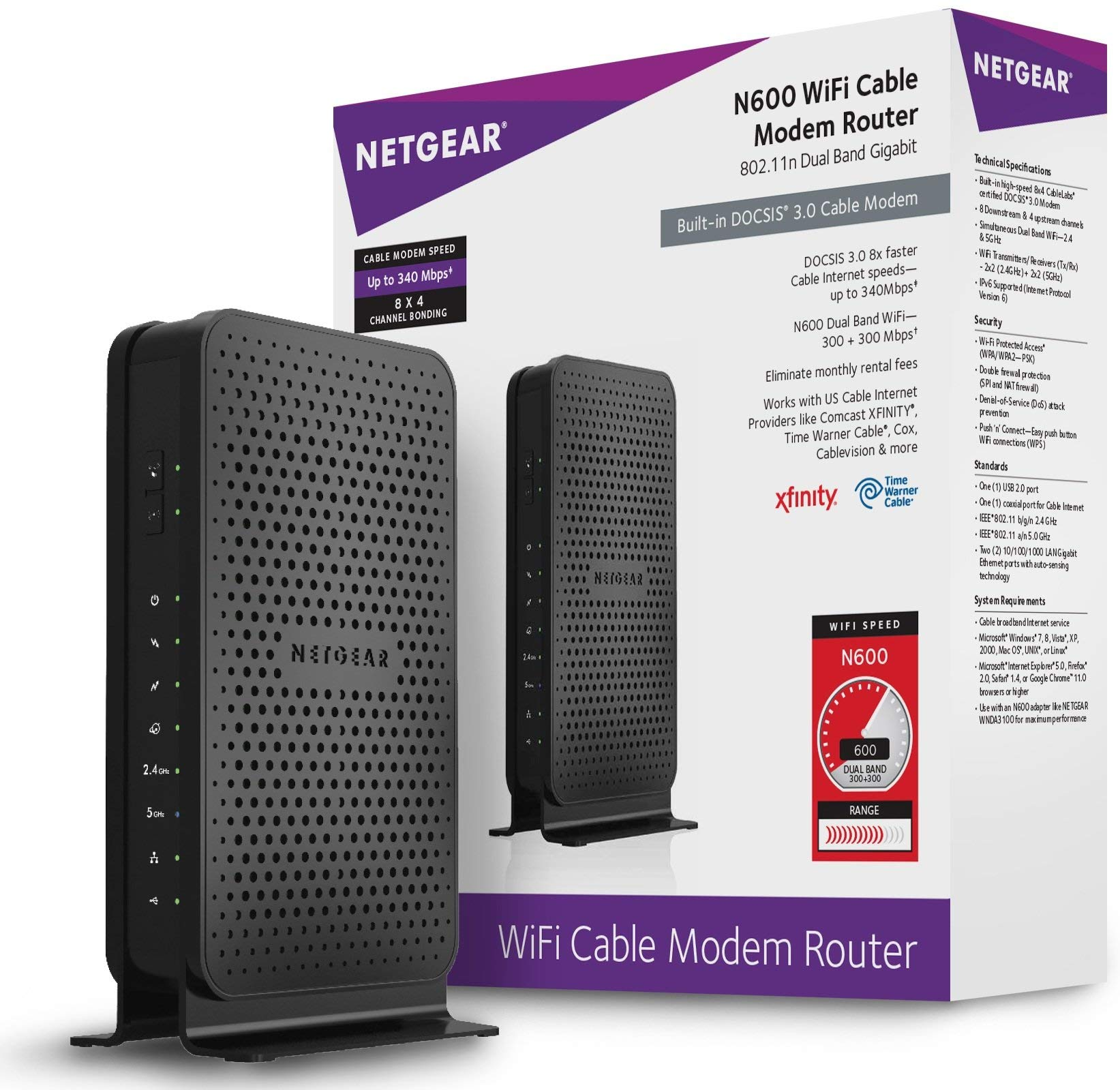 NETGEAR Dual-Band N600 Router with 8 x 4 DOCSIS 3.0 Cable Modem (C3700-100NAS) Black - Renewed