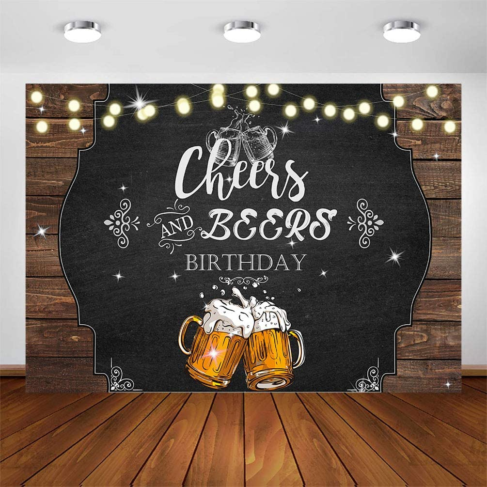 COMOPHOTO Cheers and Beers Birthday Backdrop Men Bday Party Banner Rustic Glitter Wood Cheers Photography Background for Parties Decoration Photo Booth Shoot 7x5ft Vinyl