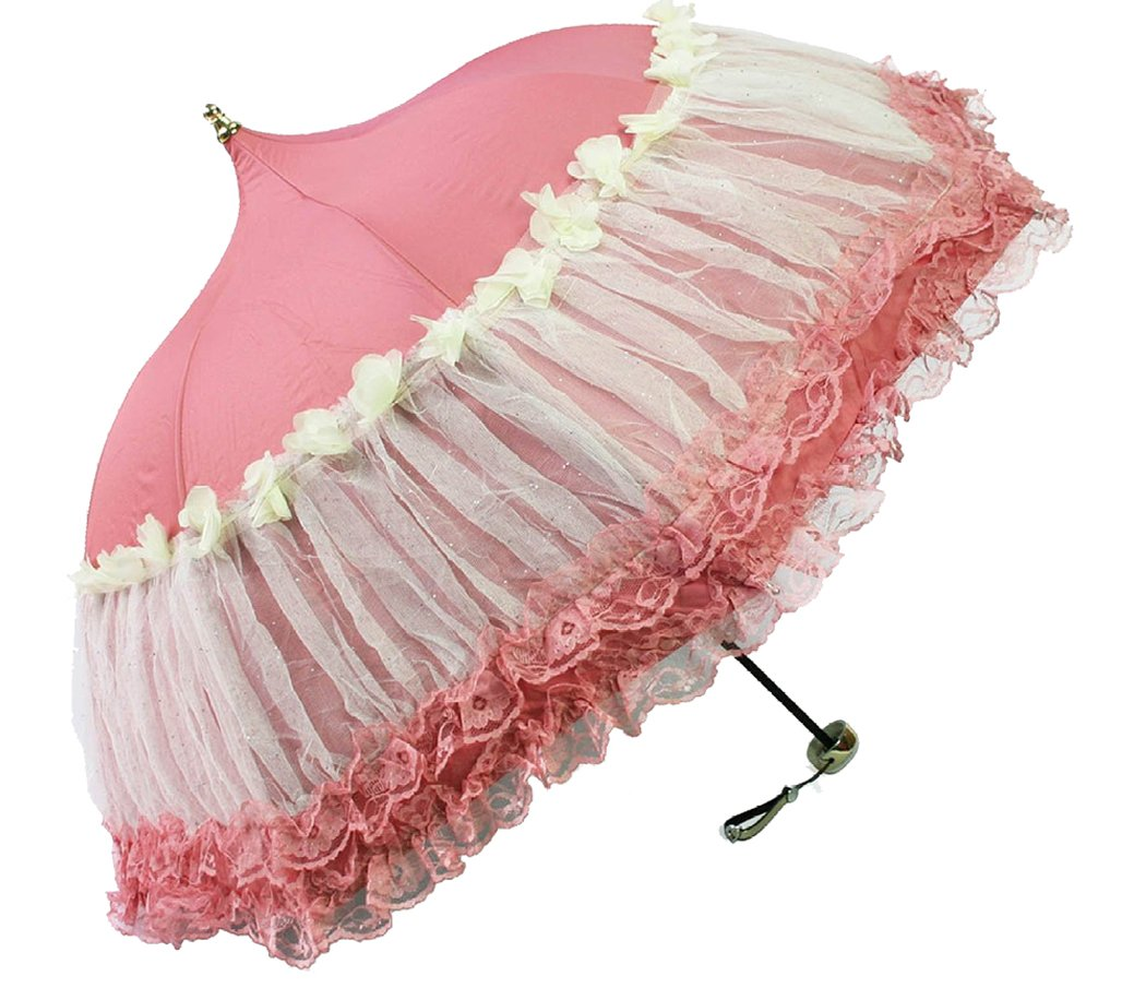 Honeystore Pagoda Parasol 3 Folding Lace Totes Sun Rain Wedding Ruffle Umbrella Pink