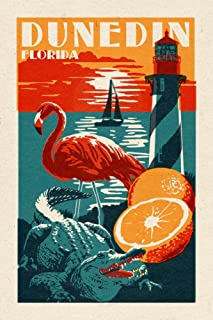 product image for Dunedin, Florida - Woodblock (36x54 Giclee Gallery Print, Wall Decor Travel Poster)