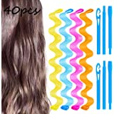 40 Pcs 12 Inch Wave Curl Formers, Smilco Heatless Hair Curler for Medium to Long Hair, Hair Style Tools Set with Styling Hooks, Diy Magic Spiral Ringlets Rollers for Women and Girls