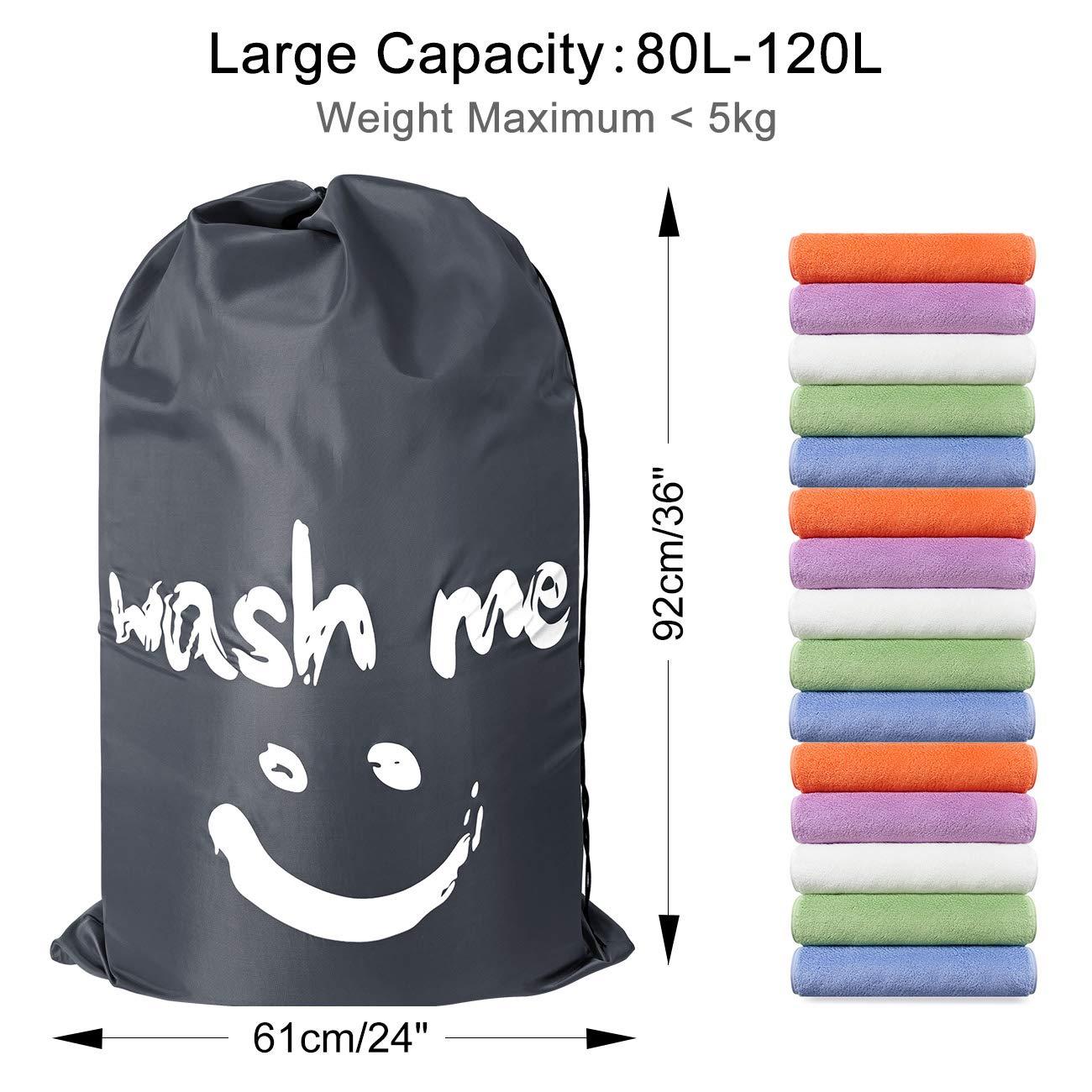 ZERO JET LAG 2 Pack Extra Large Travel Laundry Bag Set Nylon Rip-Stop Dirty Storage Bag Machine Washable Drawstring Closure 24'' x 36'' (Blue and Gray) by ZERO JET LAG (Image #9)