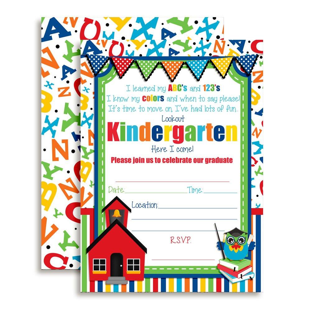 Amanda Creation Preschool Graduation Fill in Style Invitations Set of 20 Including envelopes