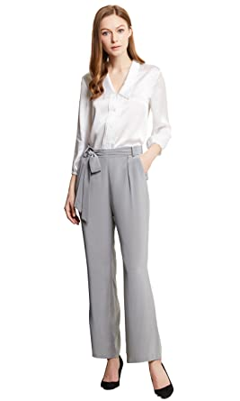 16874cefc5 LilySilk 2 pcs Silk Shirt and Trousers Set Women Concise Work Wear  Lightweight Formal Clothing Ladies