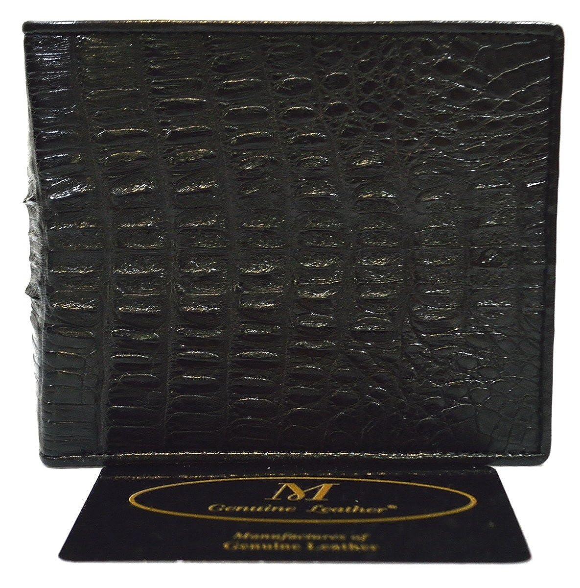 Authentic M Crocodile Skin Mens Bifold Crocodile Tail Skin Leather Black Wallet