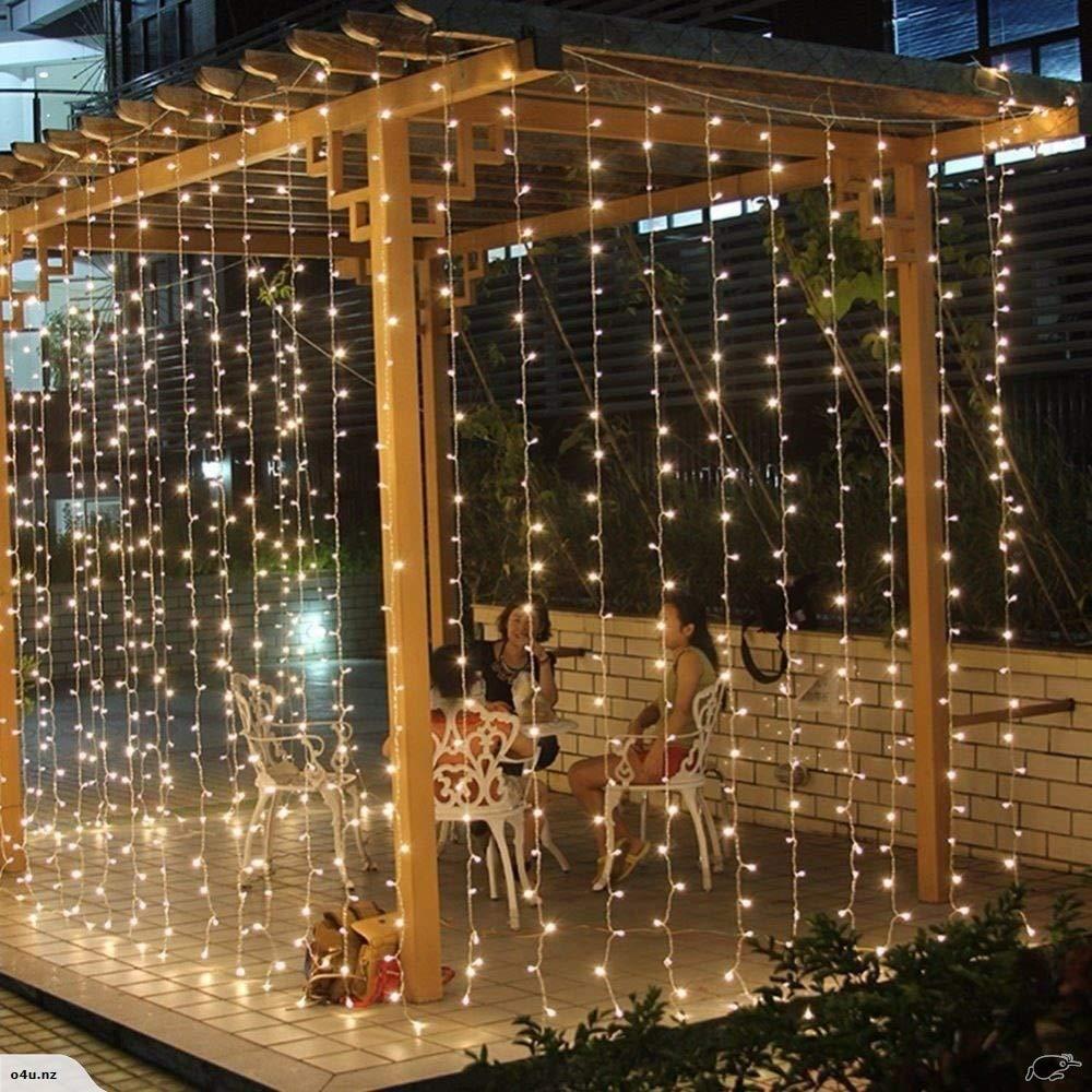 Tuscom 3Mx3M 300LED Curtain Lights 8 Modes Controller Fairy Wedding Party Decor| Outdoor Festival Xmas Garden Decor Lamp (2 Colors) (Warm White)