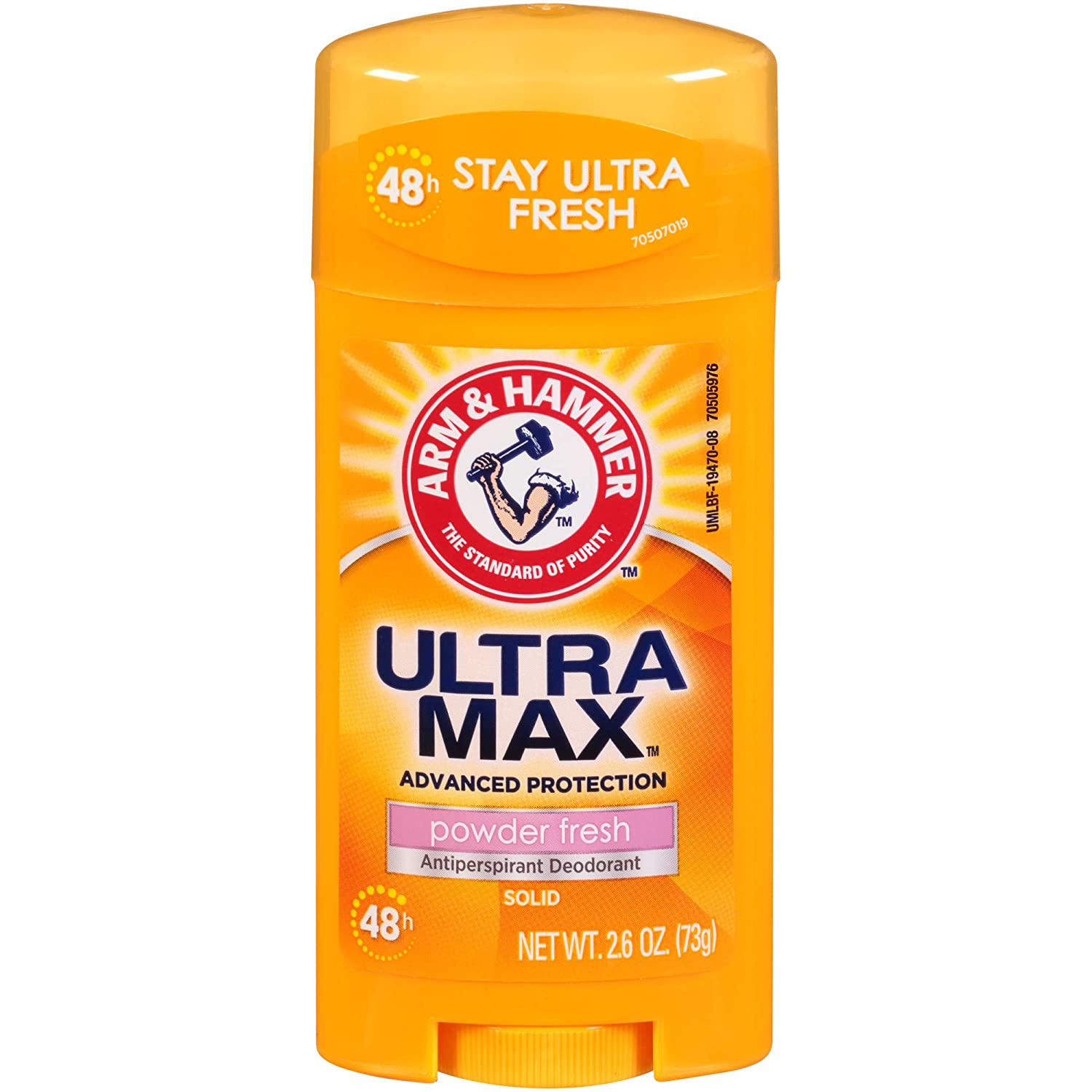 Arm & Hammer Ultramax Deodorant and Antiperspirant Solid, Powder Fresh, 2.6 Ounce (Pack of 6)